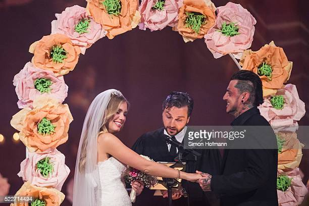 Sandra Berger and Victor Berger attend their wedding during the second event show of the tv competition 'Deutschland sucht den Superstar' at Eberbach...