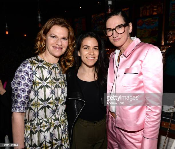Sandra Bernhard Abbi Jacobson and Jenna Lyons attend the 'Paint It Black' New York premiere after party at Fishbowl at the Dream Hotel on May 15 2017...