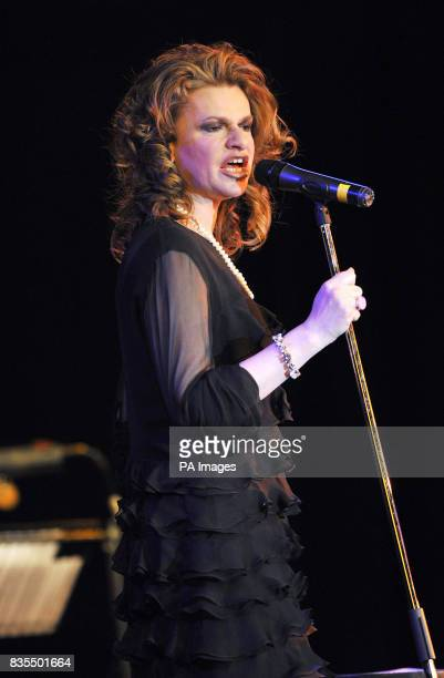 Sandra Bernhard performs on stage at the Leicester Square Theatre in London's West End