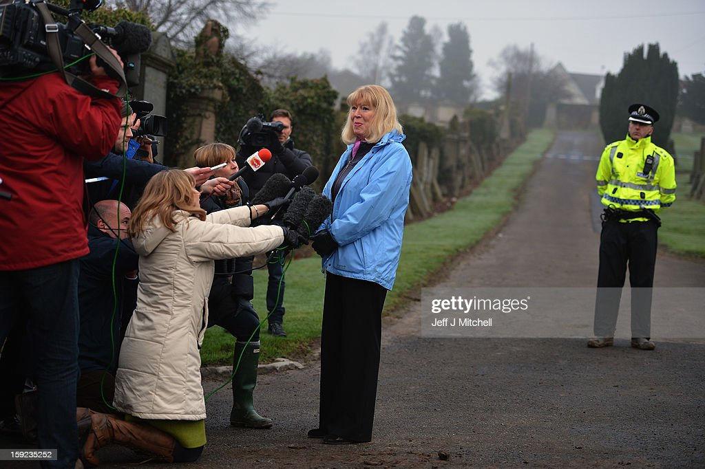 Sandra Brown speaks to reporters following the conformation that a grave at Old Monkton cemetery does not contain the body of missing schoolgirl Mora Anderson on January 10, 2013 in Coatbridge, Scotland. Mrs Brown believes that her late father Alexander Gartshore, a former bus driver and convicted rapist, had some involvement in the abduction and murder of schoolgirl Moira Anderson. The 11-year-old school girl went missing in 1957.