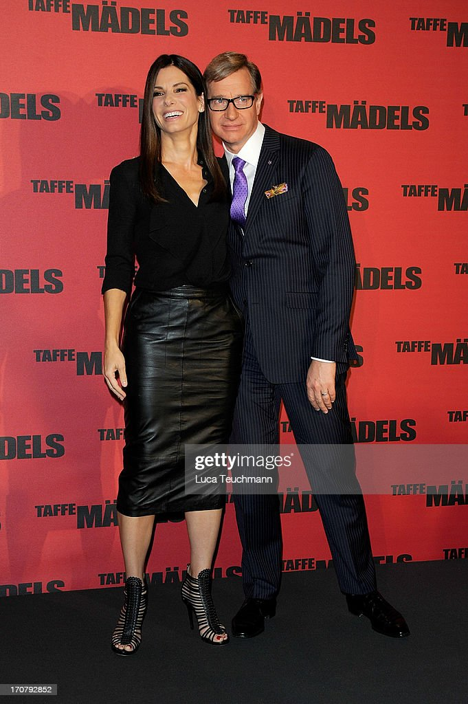 Sandra Bullock and Paul Feig attend the photocall 'Taffe Maedels' at Hotel De Rome on June 18, 2013 in Berlin, Germany.