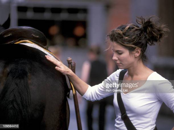 Sandra Bullock during On the Set of '28 Days' July 13 1999 at Greenwich Village in New York City New York United States