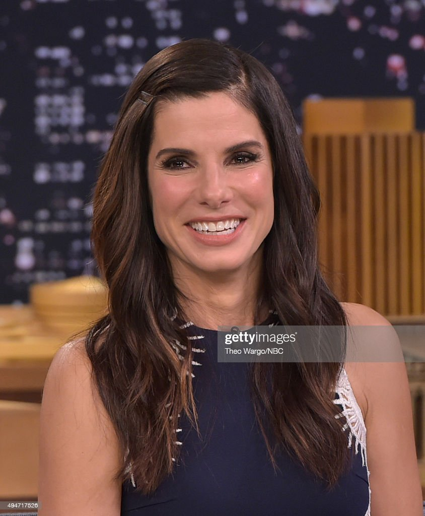 <a gi-track='captionPersonalityLinkClicked' href=/galleries/search?phrase=Sandra+Bullock&family=editorial&specificpeople=202248 ng-click='$event.stopPropagation()'>Sandra Bullock</a> Visits 'The Tonight Show Starring Jimmy Fallon' at Rockefeller Center on October 28, 2015 in New York City.