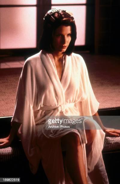 Sandra Bullock wearing a robe in a scene from the film 'Demolition Man' 1993
