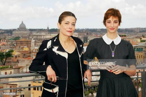 Sandra Ceccarelli and Francesca Inaudi attend the 'Il Richiamo' photocall at Hotel Bernini on May 7 2012 in Rome Italy