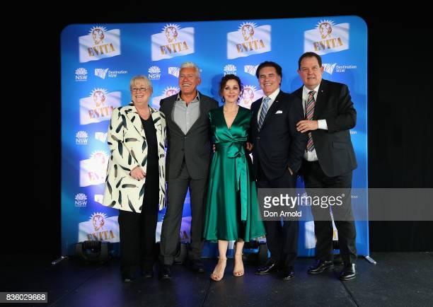 Sandra Chipchase David Ian Tina ArenaJohn Frost and Lyndon Terracini pose during the cast announcement for the upcoming production of EVITA at Sydney...