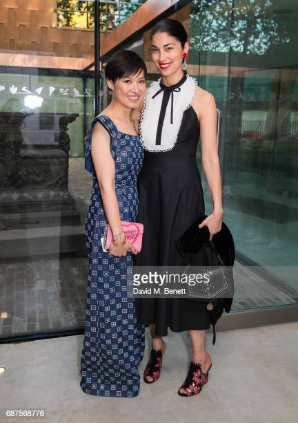 Sandra Choi and Caroline Issa attend the Jimmy Choo Mytheresacom dinner at The Garden Museum on May 23 2017 in London England
