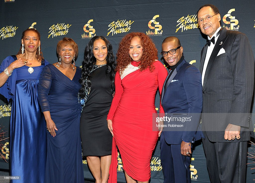 Sandra Crouch, Central City Productions President & COO Erma Davis, Erica Campbell and Tina Campbell of Mary Mary, Kirk Franklin, and Central City Productions Chairman & CEO Don Jackson attend the 28th Annual Stellar Awards at Grand Ole Opry House on January 19, 2013 in Nashville, Tennessee.