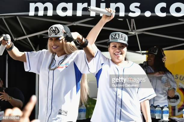Sandra Denton and Cheryl James of SaltNPepa perform live At The Crystal Pepsi Throwback Tour At Marlin's Park on August 13 2017 in Miami Florida