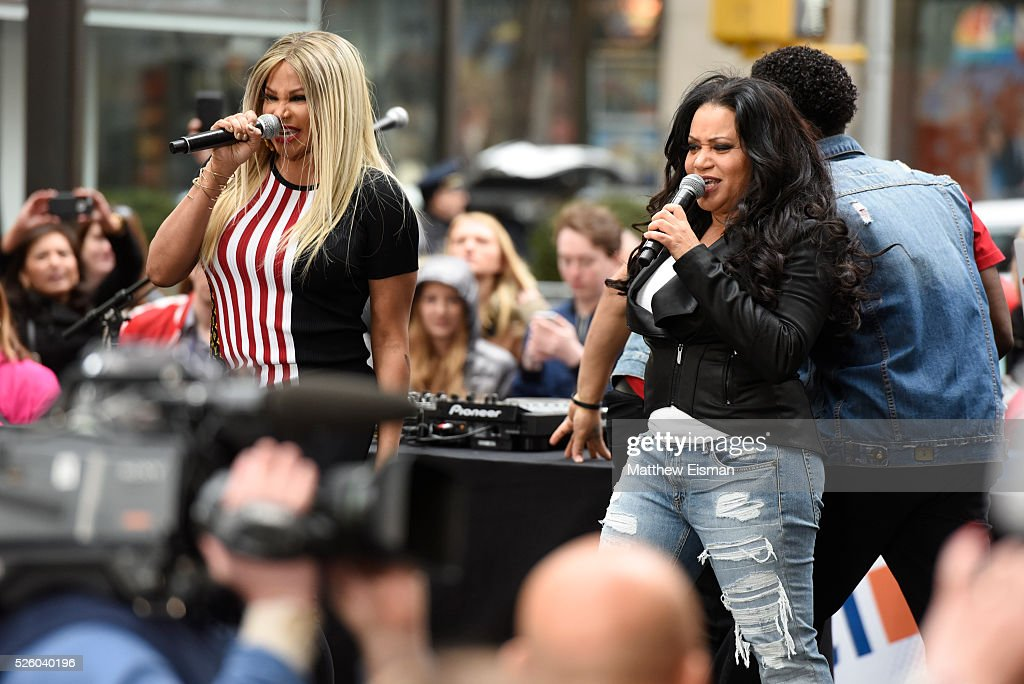 Sandra Denton (L) and <a gi-track='captionPersonalityLinkClicked' href=/galleries/search?phrase=Cheryl+James&family=editorial&specificpeople=1148224 ng-click='$event.stopPropagation()'>Cheryl James</a> of Salt-N-Pepa perform live on stage for NBC's 'Today' at Rockefeller Plaza on April 29, 2016 in New York City.