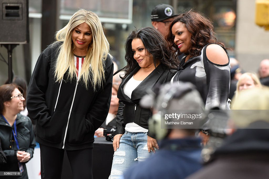 Sandra Denton, Cheryl James and Deidra Roper AKA DJ Spinderella of Salt-N-Pepa perform live on stage for NBC's 'Today' at Rockefeller Plaza on April 29, 2016 in New York City.