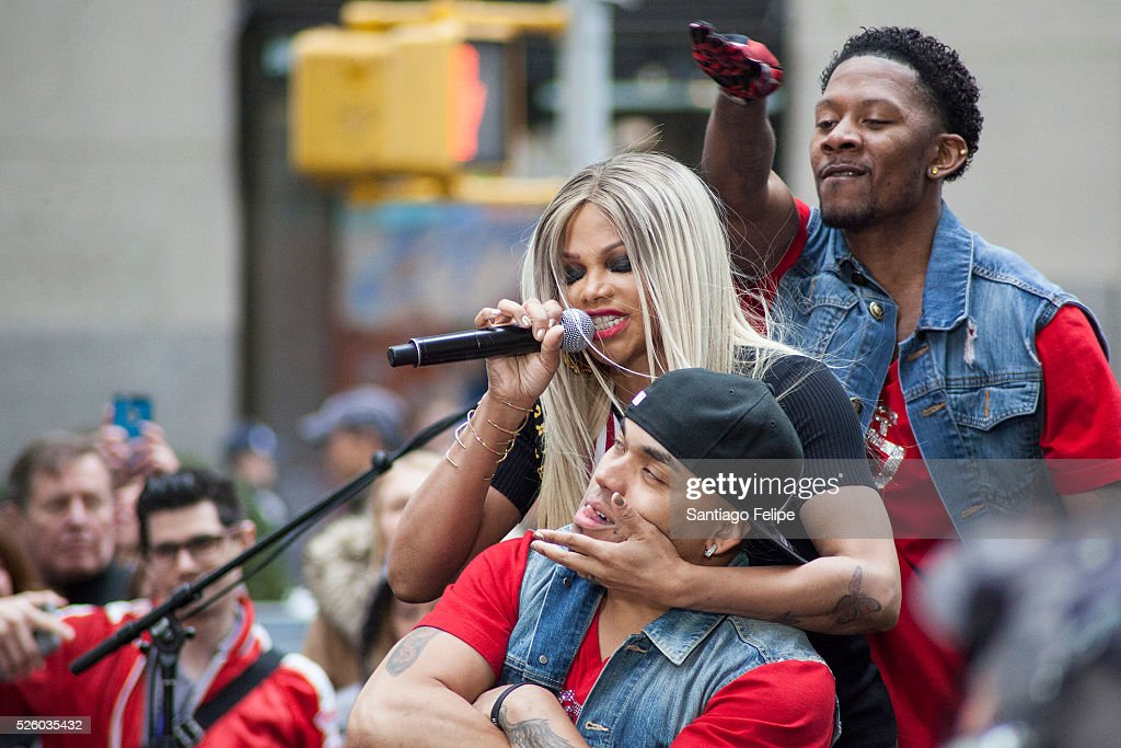 Sandra Denton of Salt n Pepa peforms onstage during I Love The 90's Concert Tour Performs On NBC's 'Today' at Rockefeller Plaza on April 29, 2016 in New York City.