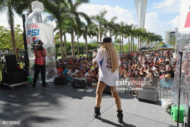 Sandra Denton of SaltNPepa Performs live At The Crystal Pepsi Throwback Tour At Marlin's Park on August 13 2017 in Miami Florida