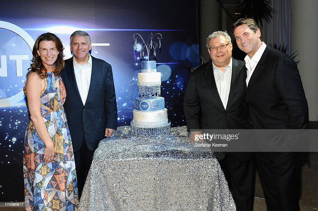 Sandra Dewey, EVP Head of Business Affairs Turner Entertainment Networks & Cartoon Network Originals, Phil Kent, Chairman and CEO Turner Broadcasting, Steve Koonin, President, Turner Entertainment Networks, and Michael Wright, President, Head of Programming TNT, TBS & TCM, attend TNT 25TH Anniversary Party during Turner Broadcasting's 2013 TCA Summer Tour at The Beverly Hilton Hotel on July 24, 2013 in Beverly Hills, California.