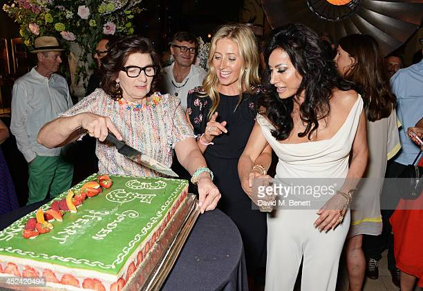 Sandra Esqulant landlady of The Golden Heart daughter Sarah Esqulant Giles and Nancy Dell'Olio attend the a party celebrating the 35th anniversary of...