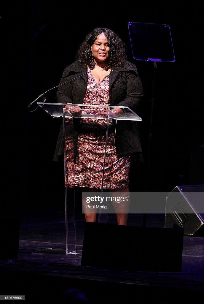 Sandra Evers-Manly, Vice President, Corporate Responsibility, Northrup Grumman, makes a few remarks at the Thelonious Monk International Jazz Drums Competition and Gala Concert at The Kennedy Center on September 23, 2012 in Washington, DC.