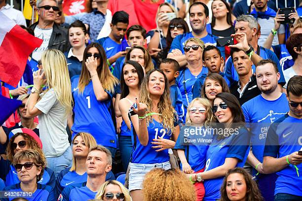 Sandra Evra Marine Lloris Ludivine Sagna Camille Sold and Jennifer Giroud during the European Championship match Round of 16 between France and...