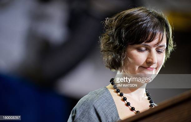 Sandra Fluke the law student Rush Limbaugh infamously attacked because of her stances on birth control introduces the US President during a campaign...