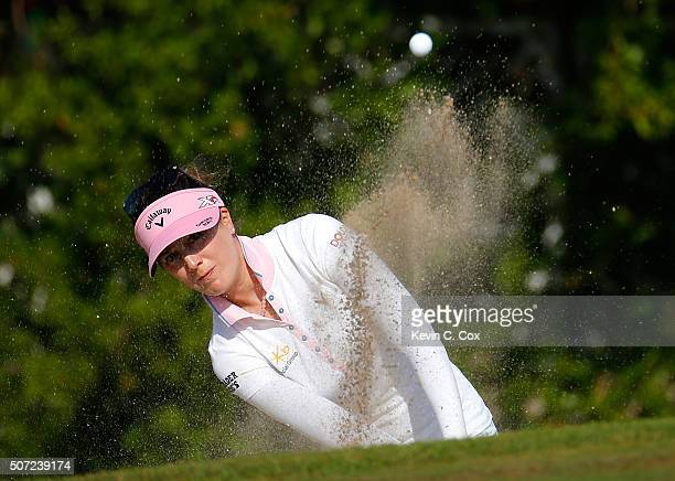Sandra Gal of Germany chips out of the trap on the seventh hole during the first round of the Pure Silk Bahamas LPGA Classic at the Ocean Club Golf...
