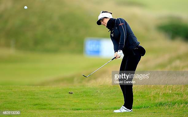 Sandra Gal of Germany hits her 3rd shot on the 17th hole during the Second Round of the Ricoh Women's British Open at Turnberry Golf Club on July 31...