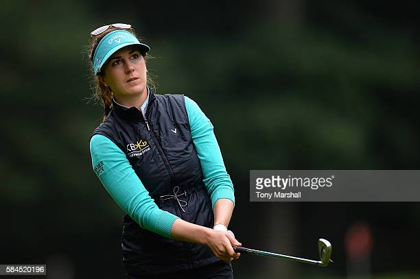 Sandra Gal of Germany hits her second shot on the 3rd hole during the second round of the Ricoh Women's British Open at Woburn Golf Club on July 29...