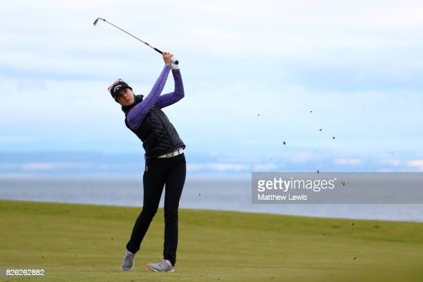 Sandra Gal of Germany hits her second shot on the 4th hole during the second round of the Ricoh Women's British Open at Kingsbarns Golf Links on...