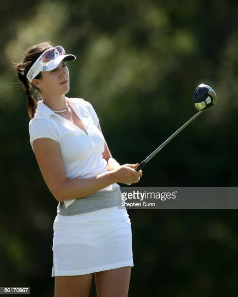 Sandra Gal of Germany hits her tee shot on the sixth hole during the second round of the Kraft Nabisco Championship at Mission Hills Country Club on...