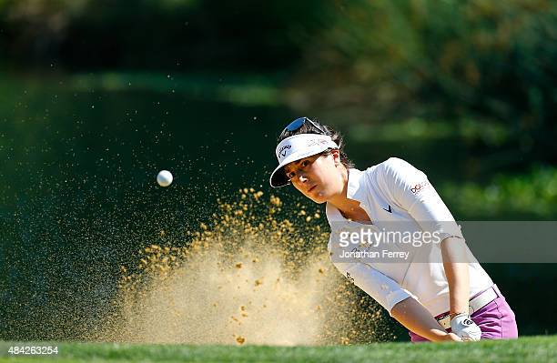 Sandra Gal of Germany hits out of the bunker on the 13th hole during the final round of the LPGA Cambia Portland Classic at Columbia Edgewater...