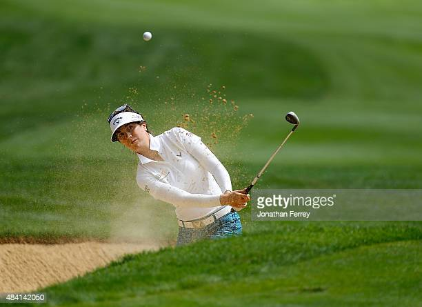 Sandra Gal of Germany hits out of the bunker on the 14th hole during the third round of the LPGA Cambia Portland Classic at Columbia Edgewater...