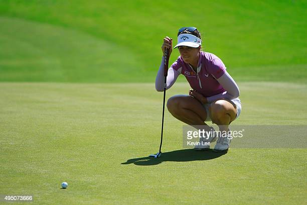 Sandra Gal of Germany line up her putt on 18th hole at round 3 on Day 6 of Blue Bay LPGA 2015 at Jian Lake Blue Bay golf course on October 31 2015 in...