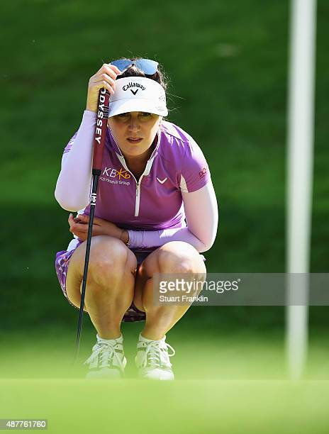 Sandra Gal of Germany lines up a putt during the second round of the Evian Championship Golf on September 11 2015 in EvianlesBains France