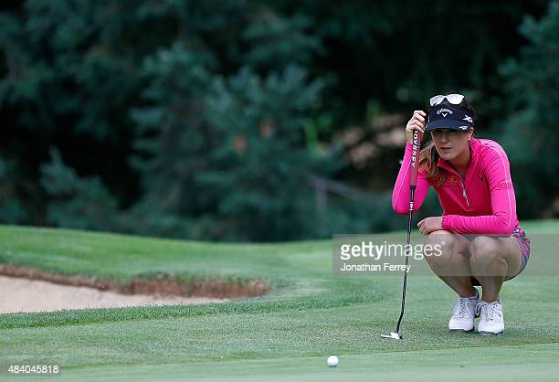 Sandra Gal of Germany lines upa putt on the 14th hole during the second round of the LPGA Cambia Portland Classic at Columbia Edgewater Country Club...