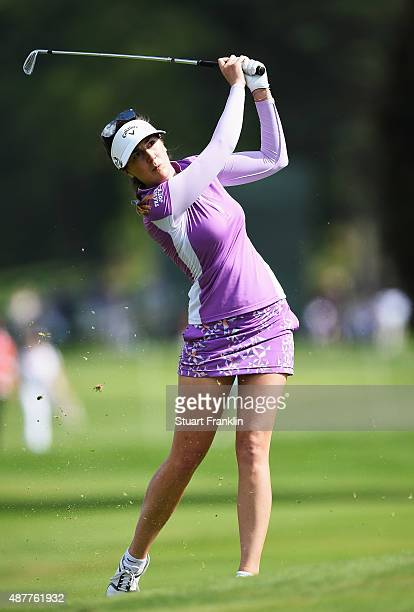 Sandra Gal of Germany plays a shot during the second round of the Evian Championship Golf on September 11 2015 in EvianlesBains France