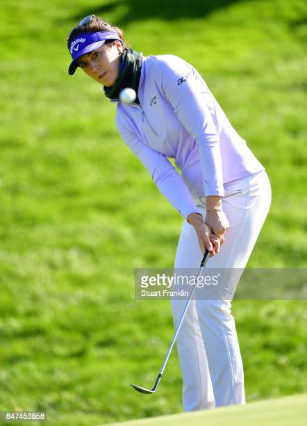 Sandra Gal of Germany plays a shot during the weather delayed first round of The Evina Championship at Evian Resort Golf Club on September 15 2017 in...