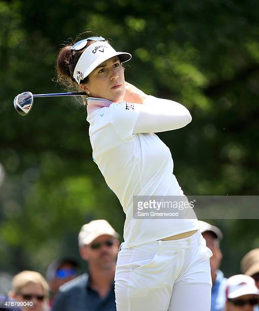 Sandra Gal of Germany plays a shot on the 9th hole during the second round of the Walmart NW Arkansas Championship Presented by PG at Pinnacle...