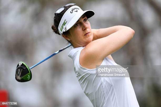 Sandra Gal of Germany plays the shot during the Honda LPGA Thailand at Siam Country Club on February 24 2017 in Chonburi Thailand