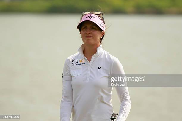 Sandra Gal of Germany reacts after her last putt at the 18th hole at Blue Bay LPGA during Round 1 of Day 1 on October 20 2016 in Sanya Hainan Island...