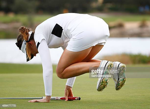 Sandra Gal of Germany reacts to a missed putt on the 14th hole during the final round of the CME Group Tour Championship at Tiburon Golf Club on...