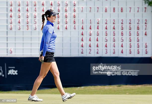 Sandra Gal of Germany reacts to missing a putt on the 18th hole during Round Two of the 2015 Volunteers of America North Texas Shootout Presented by...