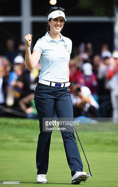 Sandra Gal of team Europe celebrates holeing the winning putt during the morning foursomes The Solheim Cup at St LeonRot Golf Club on September 18...