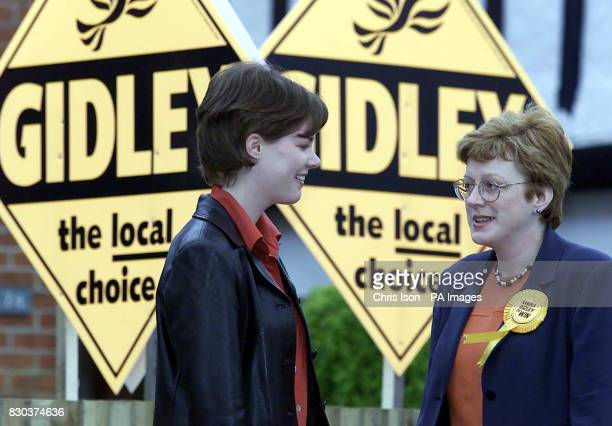 Sandra Gidley the Liberal Democrat candidate in the Romsey byelection heads for the polls with Helen Orman who celebrates her 18th birthday The Lib...