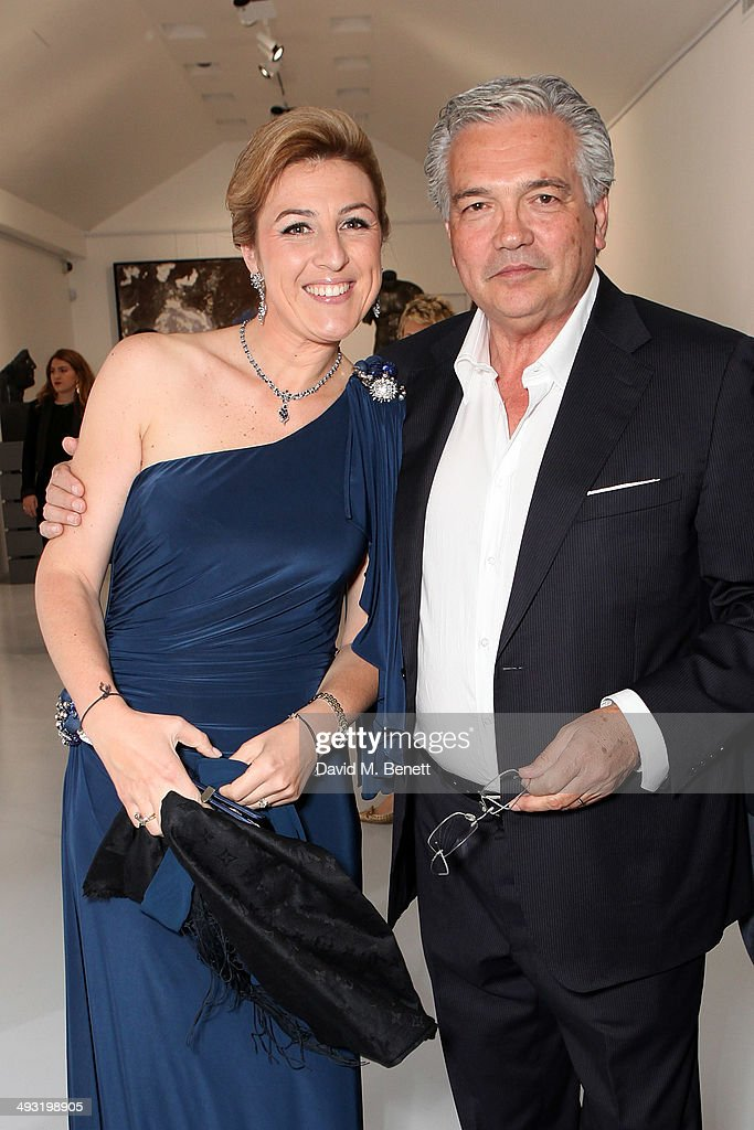 Sandra Granocchia and Stefano Contini attend a private view of works by master sculptor Igor Mitoraj to launch Contini Art UK, a new gallery opening on New Bond Street, on May 22, 2014 in London, England.