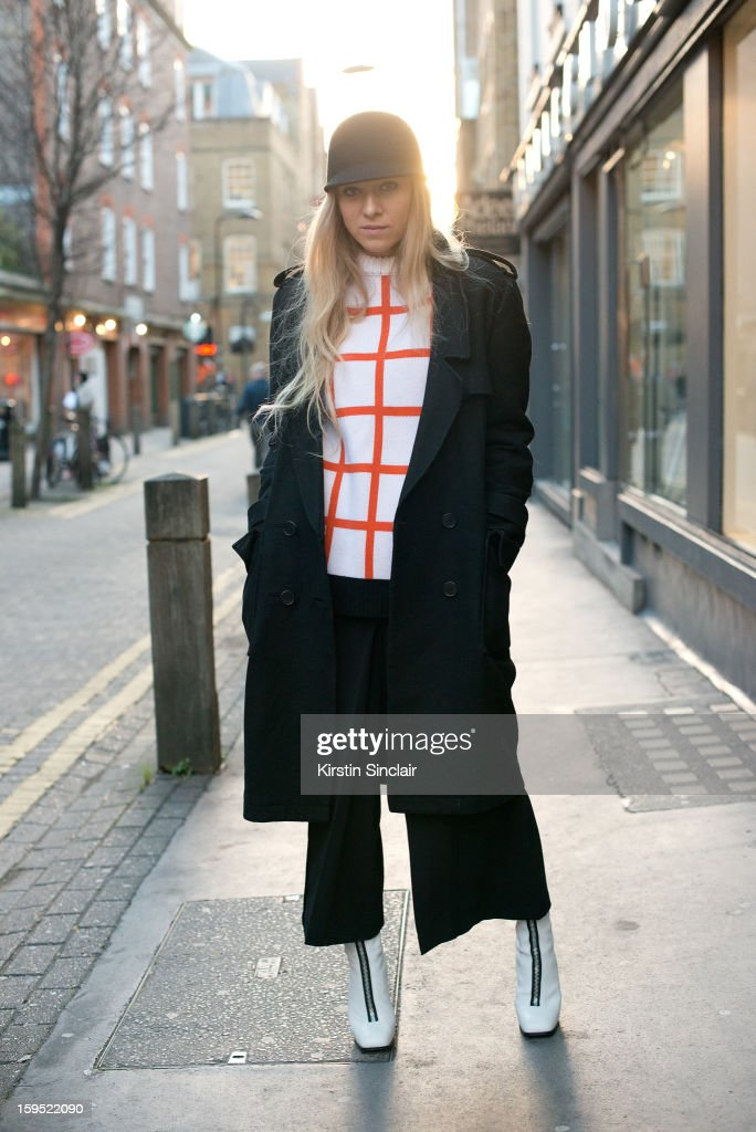 Sandra Haglestam fashion blogger wearing Celine shoes, Zara trousers, JW Anderson sweater, H and M jacket and Hat on day 3 of London Mens Fashion Week Autumn/Winter 2013, on January 09, 2013 in London, England.