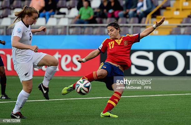 Sandra Herndandez of Spain scores her goal during the FIFA U17 Women's World Cup Group C match between New Zealand and Spain at Ricardo Saprissa Ayma...