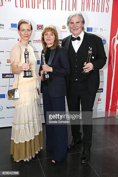 Sandra Hueller Maren Ade and Peter Simonischek Toni Erdmann with award during the 29th European Film Awards at National Forum of Music on December 10...
