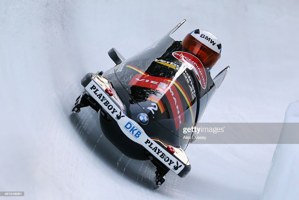Sandra Kiriasis and Franziska Bertels of Germany during a training run for the Women's Bobsleigh event at the Viessmann FIBT Bob Skeleton World Cup...