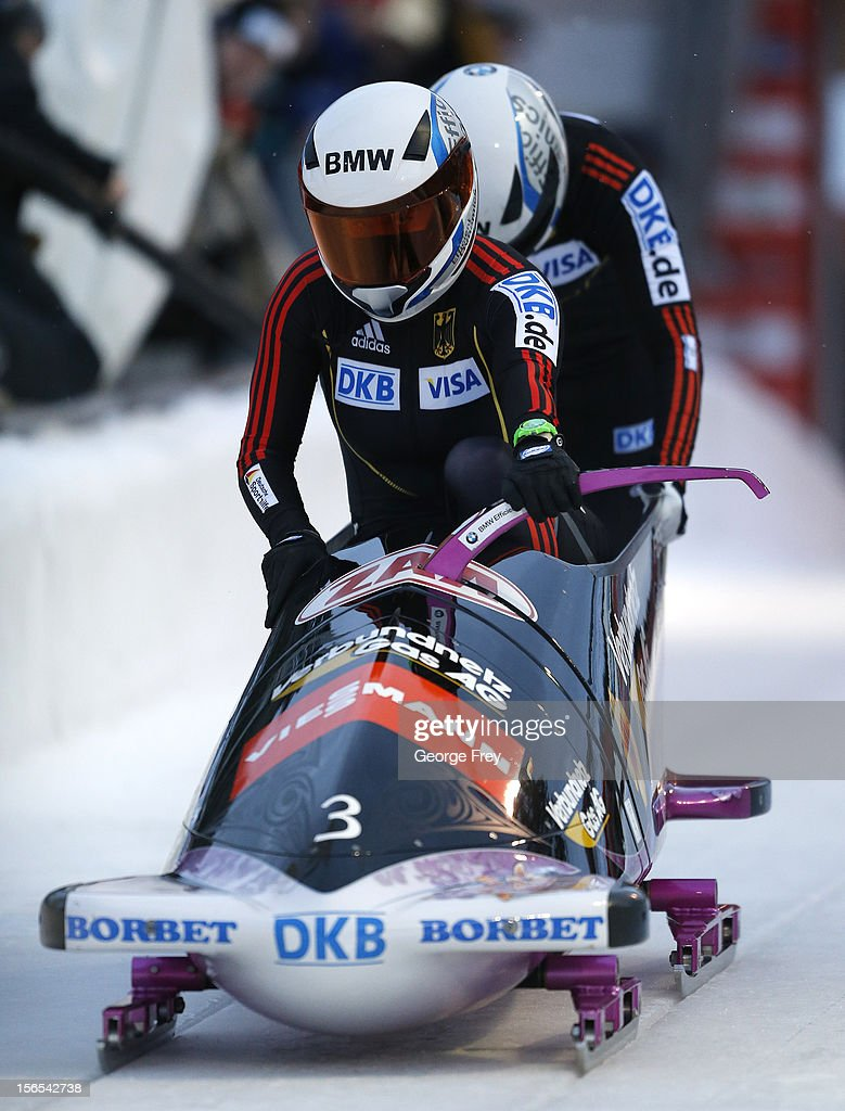 Sandra Kiriasis (F) and Franziska Bertels of Germany finish second in the FIBT women's bobsled world cup, on November 16, 2012 at Utah Olympic Park in Park City, Utah.