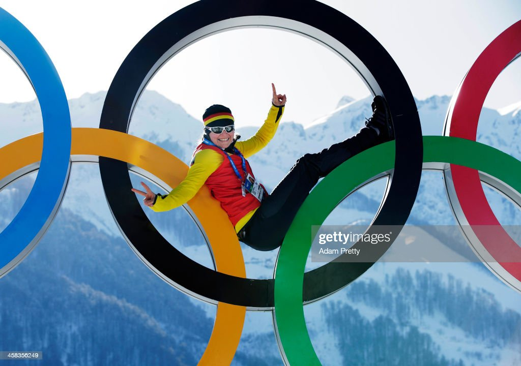 Sandra Kiriasis and Franziska Fritz of Germany pose for a picture with the Olympic Rings at Athletes Village ahead of the Sochi 2014 Winter Olympics...