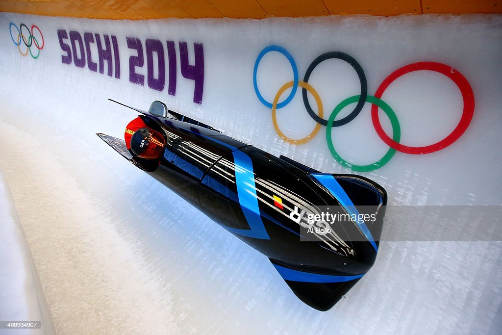 Sandra Kiriasis and Franziska Fritz of Germany practise a bobsleigh run ahead of the Sochi 2014 Winter Olympics at the Sanki Sliding Center on February 5, 2014 in Sochi, Russia. Photo by Alex Livesey/Getty Images)