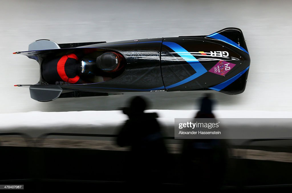 Sandra Kiriasis and Franziska Fritz of Germany team 1 a run during the Women's Bobsleigh on Day 12 of the Sochi 2014 Winter Olympics at Sliding...